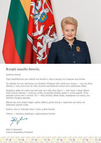 Lietuvos Respublikos Prezidentės sveikinimas Valstybės dienos proga