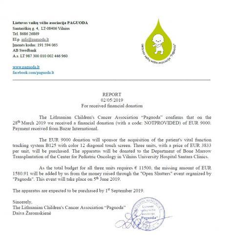 BAZAR INTERNATIONAL pranešimas