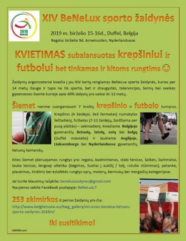 Kvietimas į BeNeLux sporto žaidynes Belgijoj