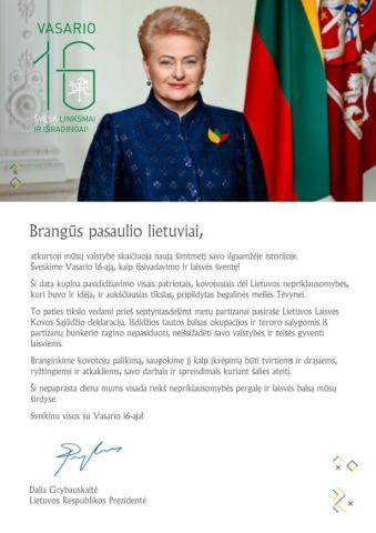 Lietuvos Respublikos Prezidentės Dalios Grybauskaitės sveikinimas