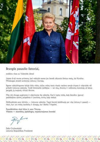 Lietuvos Respublikos Prezidentės sveikinimas pasaulio lietuviams Valstybės dienos proga