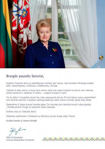 Prezidentės sveikinimas pasaulio lietuviams