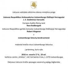 Lietuvos valstybės atkūrimo dienos minėjimas Liuksemburge
