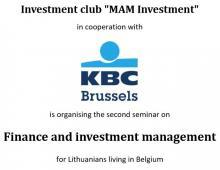 Seminaras apie finansus ir investicijas Briuselyje 2016.04.19, antradienį